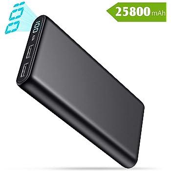 QTshine Batería Externa 25800mAh, Power Bank [Pantalla LCD Digital ...