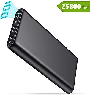 QTshine Batería Externa 25800mAh, Power Bank [Pantalla LCD Digital] Ultra Capacidad Cargador Portátil Móvil con 2 Puertos USB Carga Alta Velocidad para Smartphones Tabletas y Más Dispositivos