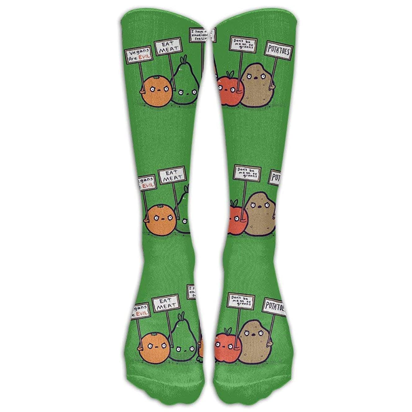 Protesting Vegans Funny Vegetables Protest Signs Against Vegans Knee High Graduated Compression Socks For Women And Men - Best Medical, Nursing, Travel & Flight Socks - Running & Fitness
