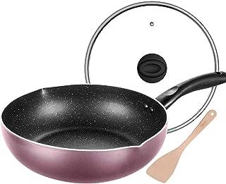 Yjdr Wok Pan avec couvercle Premium et Bonus Bamboo Spatule, Bas standard Cooks plat avec couvercle 11 pouces Anodisé Wok ...