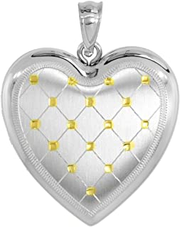 1 inch Sterling Silver Heart Locket Necklace for Women 4 Picture Gold Quilt 16-20 inch
