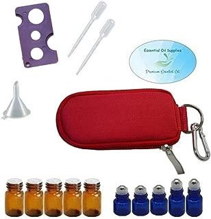 10 Bottle Essential Oil Padded Keychain Carrying Case Travel Bag, Roller Bottles and Euro Orifice Reducer Bottles, Bottle Opener, Funnel, Pipettes (Red)