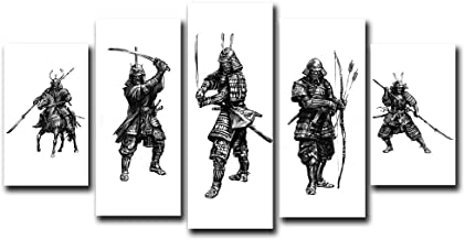 Nordic Art Minimalism Ancient Japanese Samurai Poster Canvas Black and White Warrior Figure Painting for Office Living Room Home Decor