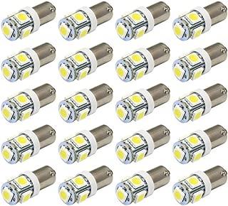 JKLcom BA9S LED Light Bulbs White 5050 5SMD BA9S 12V LED Light Bulb for Car Interior Light Bulb License Plate Light Bulb Car Replacement Lights Door Light,Pack of 20