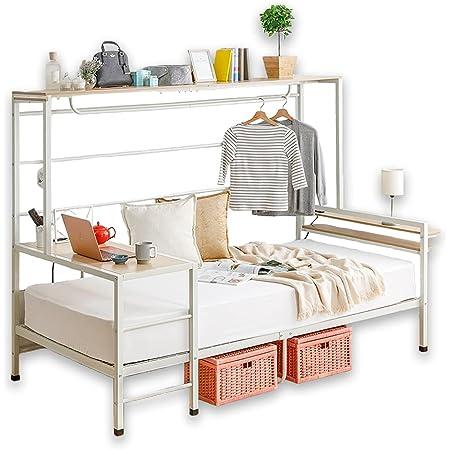 アイリスプラザ ベッド シングル ベッドフレーム おしゃれ シングルベッド 収納 人をダメにするベッド ステーションベッド ホワイト×ナチュラル シングル STBD-S