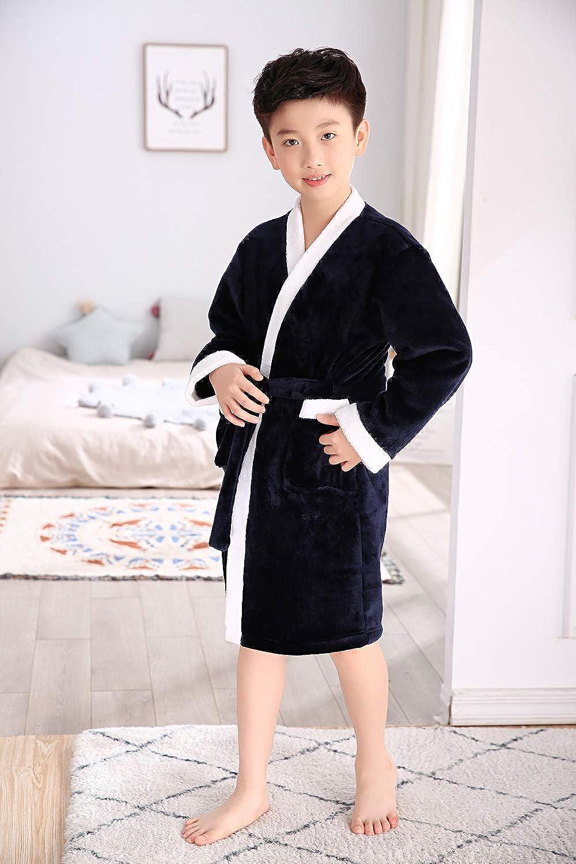 Kids Robe Boys Girls Plush Fleece Sleep Robe Bathrobe Unisex Kids Robe Pajamas Sleepwear 2 Toddler-10 Years