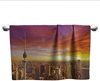 Bensonsve Gym Hand Towels Sky,Urban Theme Cityscape of Kuwait Skyline at Sunset and Skyscrapers Digital Print,Orange and Yellow,Hooded Towel for Kids Large