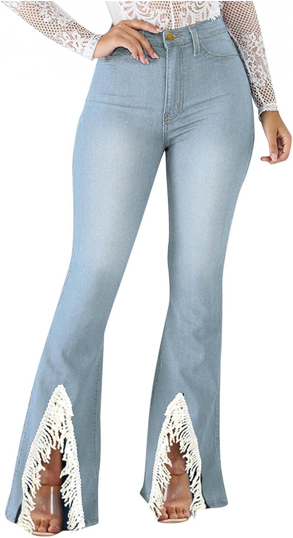 Jeans for Women High Waist, Handyulong Womens High Waisted Skinny Denim Length Jeans Bell Bottom Lace Side Legging Pants