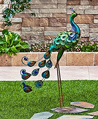 """Snoogg 3621000 3621-tr The Lakeside Collection Metallic Peacock Figure, 6-1/2""""W x 21"""" D x 31-3/4""""H, Green"""