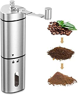 Manual Coffee Grinder, Stainless Steel Coffee Grinder Hand Crank Bean Mill Hand Held Coffee Mill for Home Office Travellin...