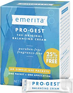 Emerita Pro-Gest Balancing Cream Single-Use Packets | USP Progesterone Cream from Wild Yam | 60 Packets