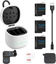 TELESIN 3-Pack Batteries and 3-Channels USB Charger for GoPro Hero 8 Hero 7 Black Hero (2018) Hero 6 Hero 5 Black, with Accessories Backpack Shoulder Mount , Lens Cover Cap, Lens Screen Protector Film