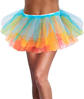 SIPU Women's 5 Layered Tulle Tutu Skirt with Light Up LED