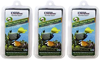 Ocean Nutrition 3 Pack of Green Marine Algae Fish Food, 10 Sheets Each, with Natural Garlic Extract for All Herbivorous & ...