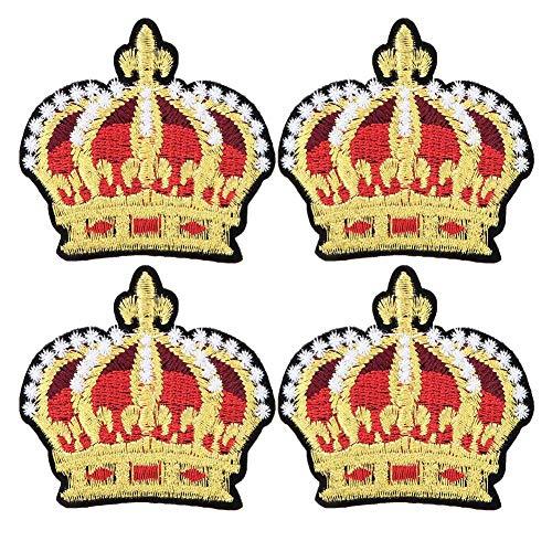 4 Stks Geborduurde Patch, Goud Kroon Patroon Patches Lijm Geborduurde Appliques Naaien Sticker Kleding Craft Accessoires DIY Decoratie voor Jassen Rugzakken Jeans Kleding