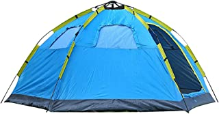 LYQZ 4-6 People Automatic Travel Tent 2 Doors 4 Windows Mongolian Yurt Awning Waterproof UV Protection Family Evening Camping Hiking Tent