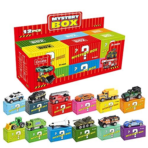 Oriate Diecast Toy Cars Set 12 Pack Mini Metal Vehicle 1/64 Scale for Kids Play Car  Twelve Theme Contain 72 Style - Blind Box Edition for Children Birthday Party Gift[Style May Vary]