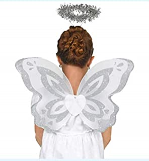 Angel Accessory Set for Kids (Includes White Wings and Halo Headband - One Size) | Fancy Cosplay Angel Fairy Prop, Halloween Party Dress up