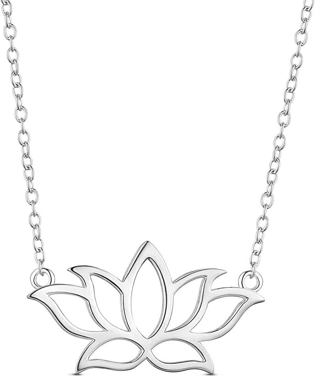 SHEGRACE 925 Sterling Silver Necklace, with Lotus Flower Pendant