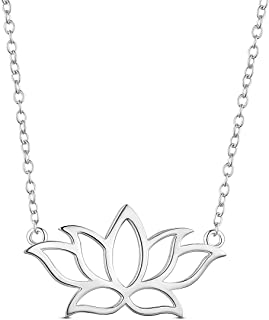 """SHEGRACE 925 Sterling Silver Necklace, with Lotus Flower Pendant 17.3"""""""