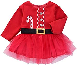 24d4fa974 Younger star Baby Girls Christmas Dress Toddler Kids Xmas Outfit Long Sleeve  Tutu Princess Dress