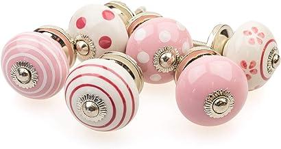 Möbelknopp möbelknopp möbelhandtag set om 6 087GN punkter cirklar prickar vit rosa – jay knapp keramik porslin handmålade ...