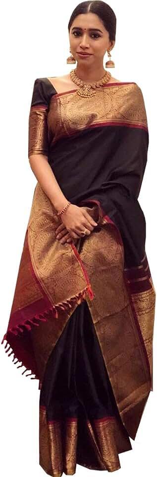 Indian Applix Style Women's Banarasi Silk Saree with Blouse (AS205_Green) Saree