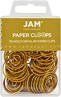 JAM PAPER Circular Paper Clips - Round Paperclips - Gold - 50/Pack