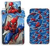 Jf Spiderman - Juego de cama de 3 piezas, funda nórdica de 140 x 200 cm + funda de almohada de 60 x 80 + sábana bajera