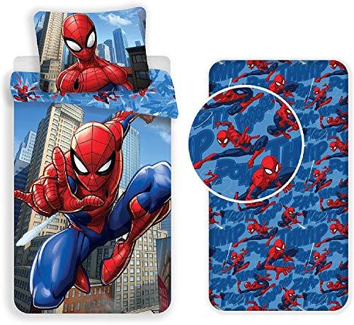 Jf Spiderman - Parure da letto 3 pezzi, copripiumino 140 x 200 cm + federa 60 x 80 cm + lenzuolo con angoli