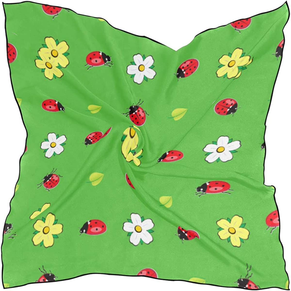 Women's Soft Polyester Silk Square Scarf Five-star Ladybug Cute Little Reptile Color Childlike Beast Red Dot Fashion Print Head & Hair Scarf Neckerchief Accessory-23.6x23.6 Inch