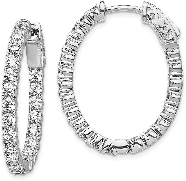 Beautiful Sterling silver 925 sterling Sterling Silver Rhodiumplated CZ Hinged Oval Hoop Earrings