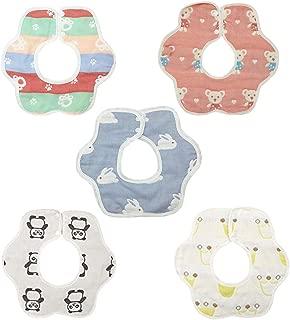 5Pcs Unisex Baby Drool Bibs,360 Degree Reversible,Super Soft Absorbent bib for Toddler Infant,100% Cotton (Alpaca)