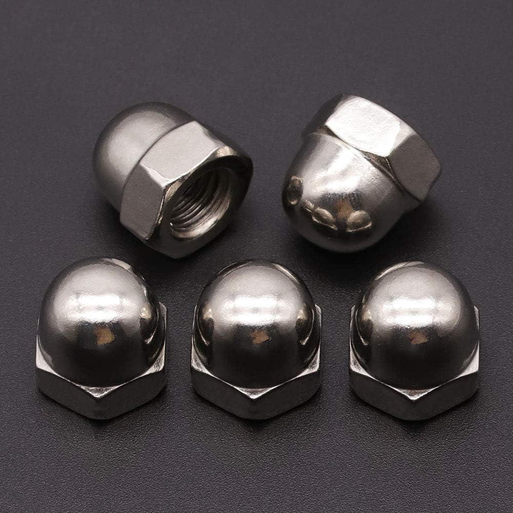 50 PCS M6-1.0mm 304 Stainless Steel Bright Finish Acorn Hex Cap Nuts Locknuts