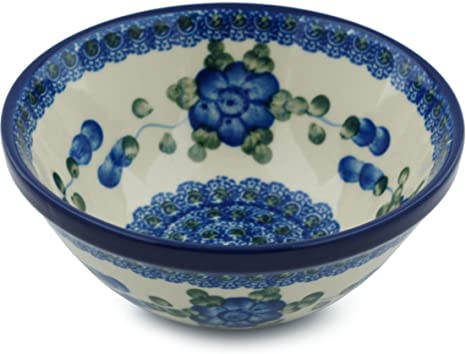 Polish Pottery Cereal Soup Bowl 5 Inch Blue Poppies Cereal Bowls
