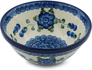 Polish Pottery Cereal/Soup Bowl 5-inch (Blue Poppies)