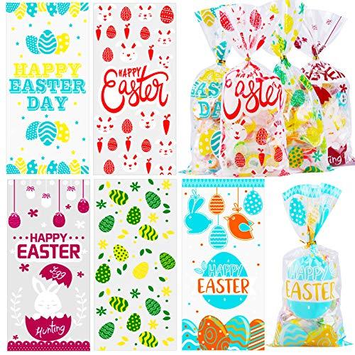 HOWAF 100pcs Ostern Partytüten, Ostern Cellophan Tüten, Ostern Süßigkeiten Süßes Tüten, Ostern Keks Plätzchen Tüten, Hase Karotte Osterei Tüten für Kinder Ostern Geschenktüten Gastgeschenke