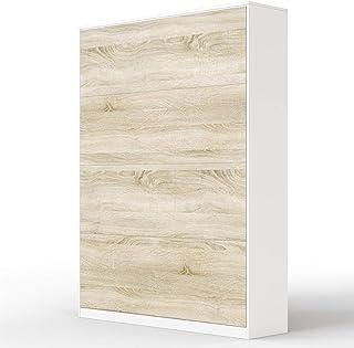 SMARTBett Basic Cama abatible Cama Plegable Cama de Pared (Blanco/Roble Sonoma, 140x200 cm Vertikal)