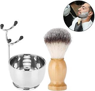 Juego de afeitado de barba para hombres, tazón de jabón profesional de acero inoxidable + soporte para bastidor de afeitado + brocha de afeitar para cabello Herramienta de afeitado