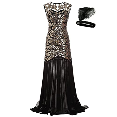 f40c53cb60 General Women s Vintage 1920s Sequin Maxi Long Evening Prom Party Cocktail  Dress