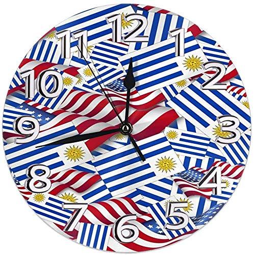 Reloj de Pared Bandera de Uruguay con Bandera de Estados Unidos Reloj Redondo Reloj de Pared silencioso para decoración del hogar