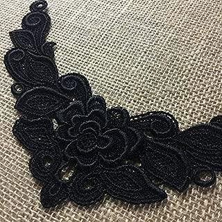 Lace Applique Piece Rose Motif Embroidery Venise Patch Neckpiece, 5