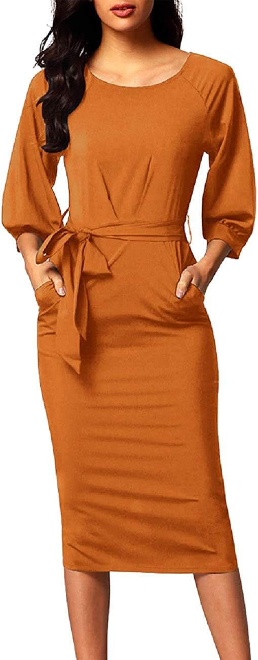 MAYFASEY Women's Round Neck 3/4 Puff Sleeve Chiffon Belted Pencil Dress with Pockets