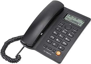 Vaste telefoon, vaste telefoon met nummerherkenning en handsfree bellen, voor gebruik in het thuiskantoor (20x21x6cm)(black)