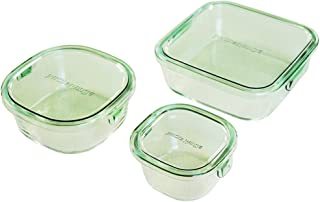 iwaki(イワキ) 耐熱ガラス 保存容器 グリーン 3個セット パック&レンジ PS-PRN-3G1
