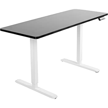 VIVO Electric 60 x 24 inch Stand Up Desk | Black Table Top, White Frame, Height Adjustable Standing Workstation with Memory Preset Controller (DESK-KIT-1W6B)