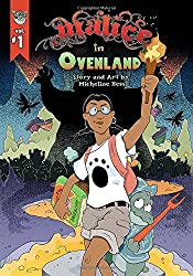Malice In Ovenland book cover with Lily holding a flaming torch in a dark cave-looking place
