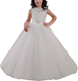 Elegant Long Flower Girl Dress Lace Beading Tulle Ball Gowns First Communion