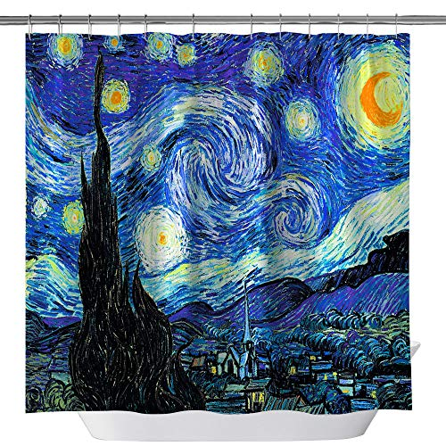 summer007 Van Gogh Starry Night Shower Curtain,Waterproof Polyester Fabric Shower Curtain for Bathroom, Bathroom