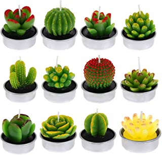 DaveandAthena 12 Pieces Cactus Tealight Candles Handmade Delicate Succulent Cactus Candles for Birthday Party, Wedding, Spa, Home Decoration (Style 1)